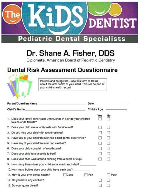 Dental Risk Assessment Questionnaire Dental Risk Assessment Template
