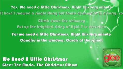 printable lyrics for we need a little christmas glee we need a little christmas lyrics on screen youtube