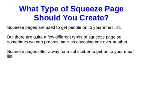 what type of squeeze page should you create