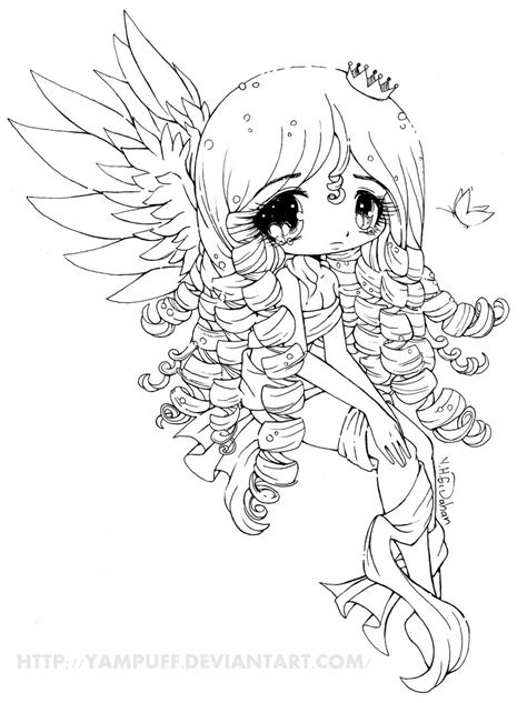 chibi coloring pages for adults elyssa lineart by yampuff on deviantart manga chibi