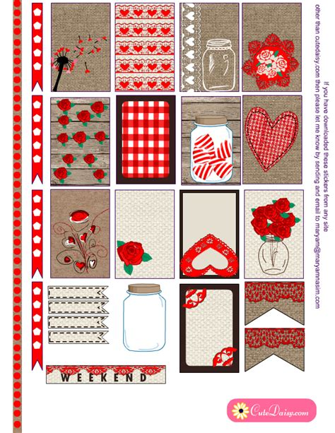 free printable valentines planner stickers valentine s day rustic stickers for planners