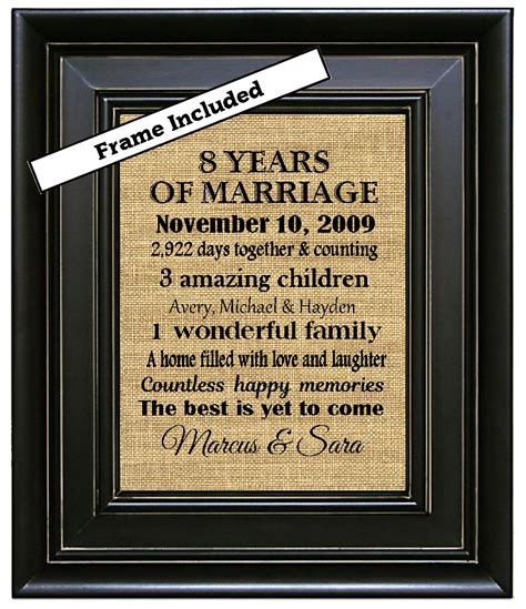 framed 8th wedding anniversary gift 8th anniversary gifts 8