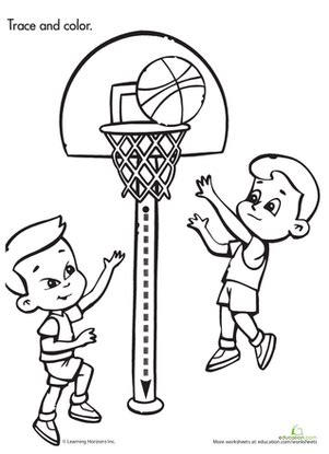 basketball game coloring pages trace color basketball game worksheet education com