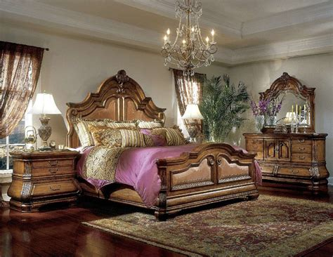 michael amini tuscano luxury bedroom set biscotti finish
