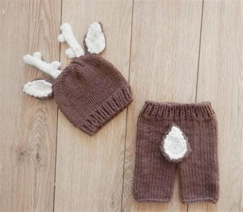 knitted baby props deer pattern crochet baby hat newborn costume set knit