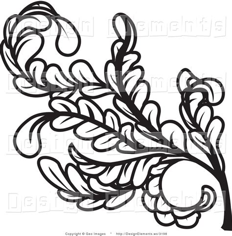 leaf pattern black and white clipart curly leaves clipart clipground