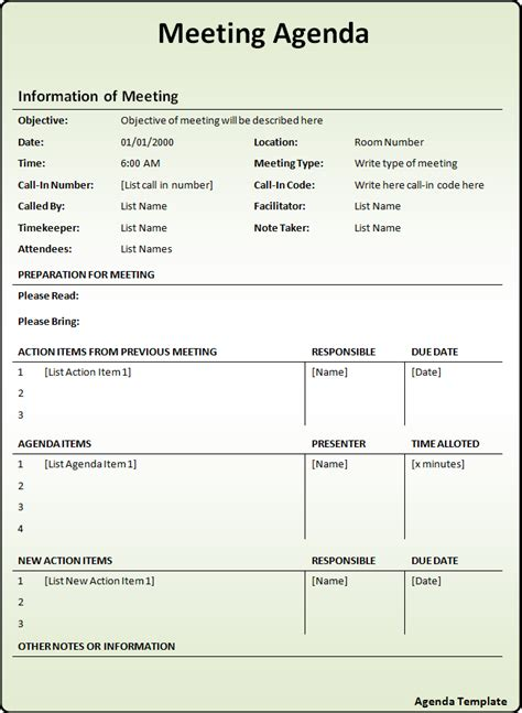 meeting agenda template  word templates