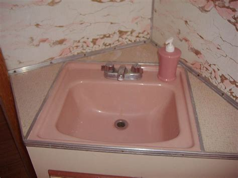 pink bathroom sink shelly and greg s 1958 universal terra cruiser trailer