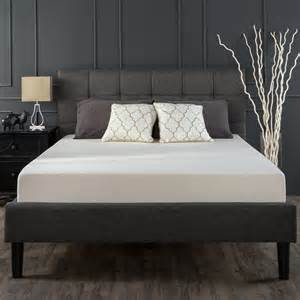 grey bed upholstered square stitched platform bed grey zinus