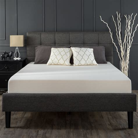 Grey Bed With Mattress Upholstered Square Stitched Platform Bed Grey Zinus