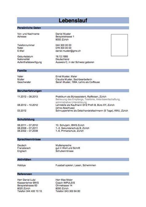 Lebenslauf Schweiz Referenzen Lebenslauf Muster Impulsis