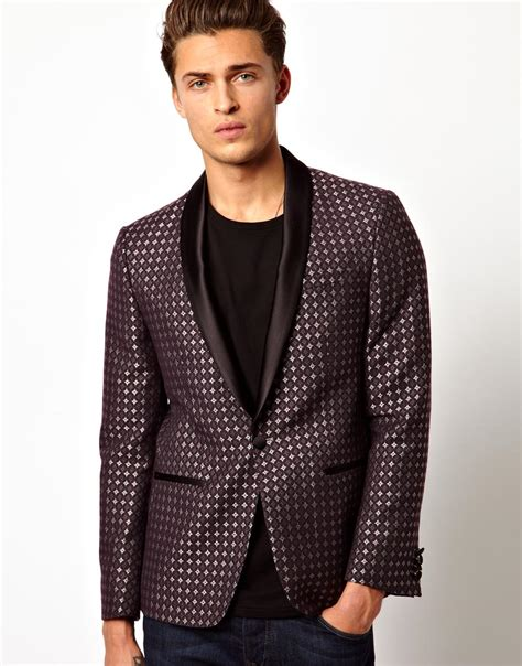 black jacquard pattern slim suit jacket asos slim fit tuxedo suit jacket in jacquard fabric in