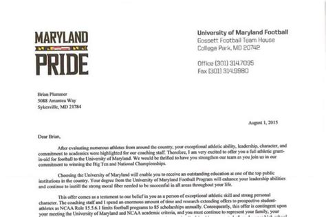 Basketball Scholarship Letter Here S What An Official Maryland Football Scholarship Offer Looks Like Testudo Times