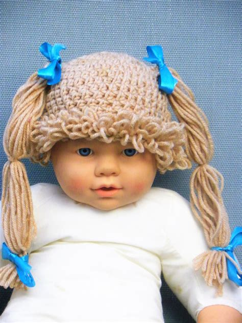 diply gabbage patch knit hat cabbage patch hat crochet cabbage patch wig knitted wig