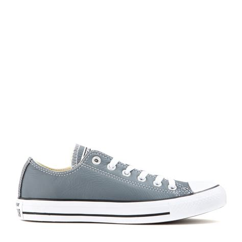 Converse Leather Grey lyst converse all low chuck leather sneakers