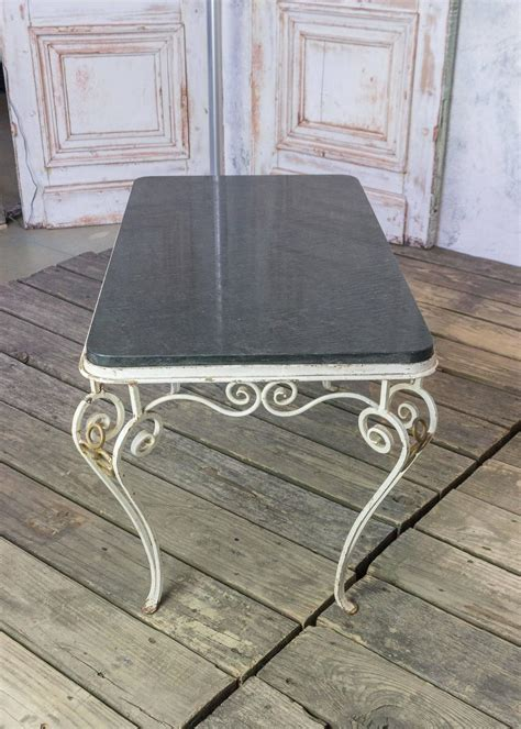French 1950s Wrought Iron Coffee Table With Black Marble Black Wrought Iron Coffee Table