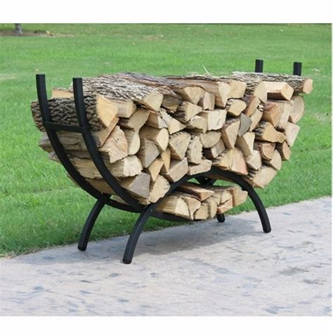 Metal Firewood Rack by Crescent Shaped Metal Outdoor Firewood Log Rack With
