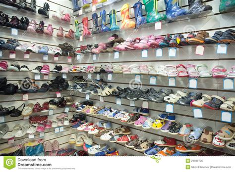 the sandal shop baby shoes at fashionable shop royalty free stock photo
