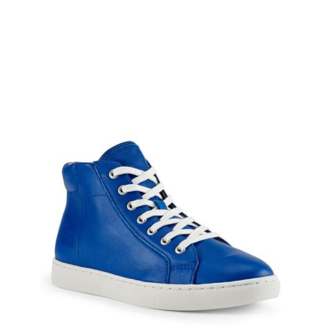 polo high top sneakers lyst polo ralph leather high top sneaker in blue