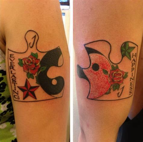 matching tattoos couple 40 cool puzzle design ideas hative