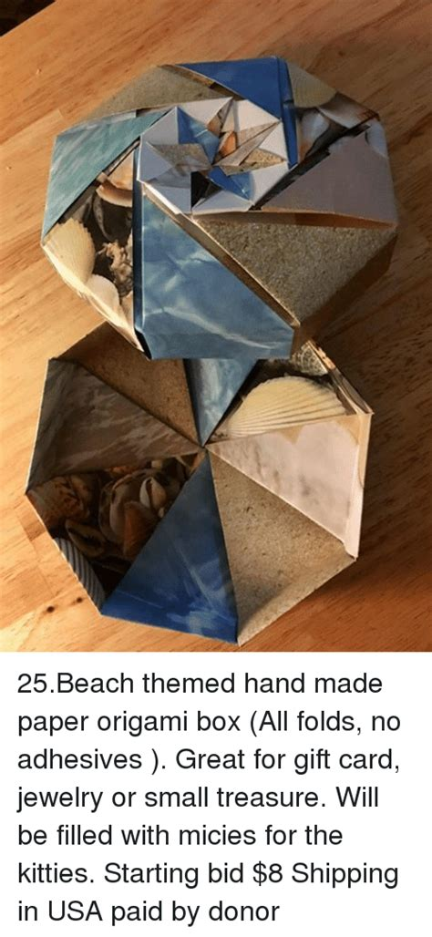 Themed Origami - 25beach themed made paper origami box all folds no