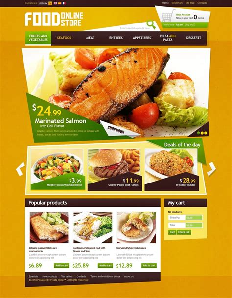 cuisine site delicious food prestashop theme web design templates