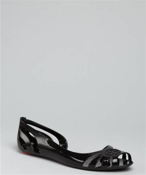 gucci rubber sandals gucci cutout rubber flat peep toe sandals in black lyst