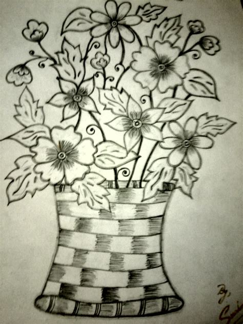 Pencil Drawing Flower Vase by Pencil Shading Of Flower Vase Drawing Ideas