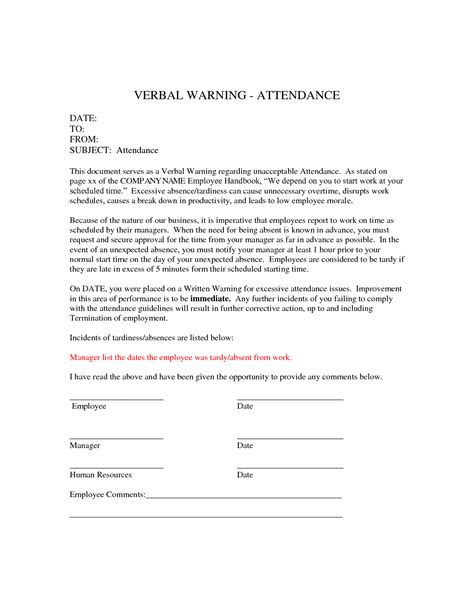 template of verbal warning written warning sle letter for excessive absences