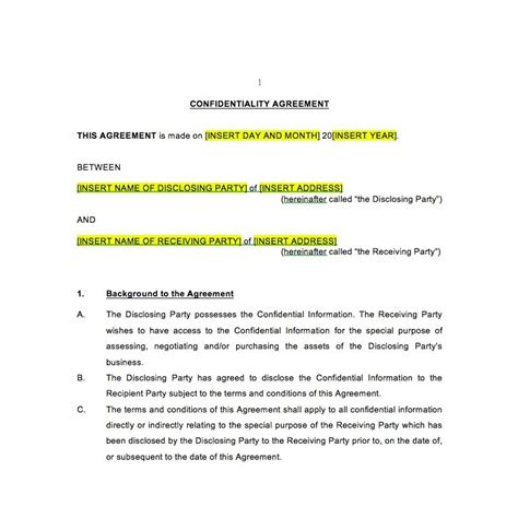 non disclosure agreement template australia confidentiality agreement template law4us