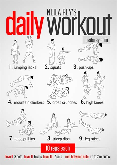 the daily workout with levels i ii and iii diet easy daily workouts workout exercise