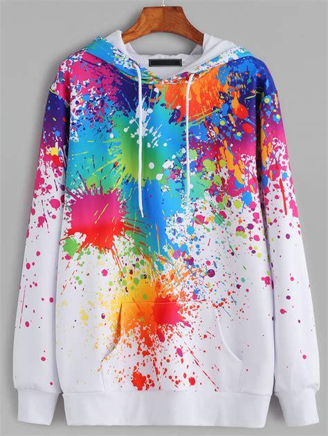White Color Paint Sweater white paint splatter print drawstring hooded pocket sweatshirtfor romwe