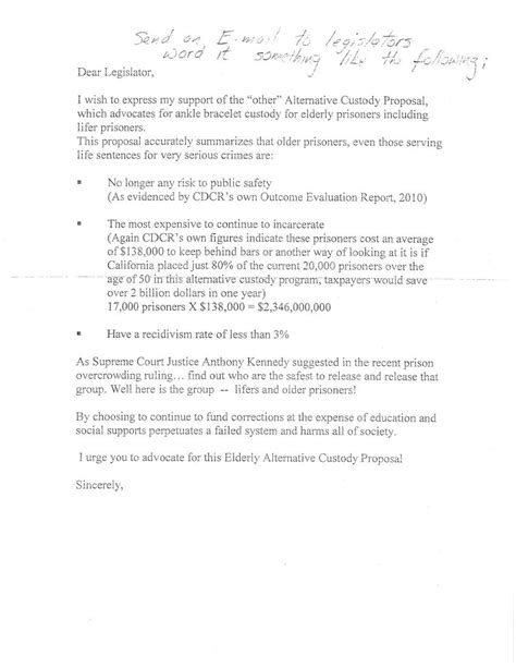 Support Letter For Guardianship Between The Bars Letter Of Support For Alternative Custody Robert Outman