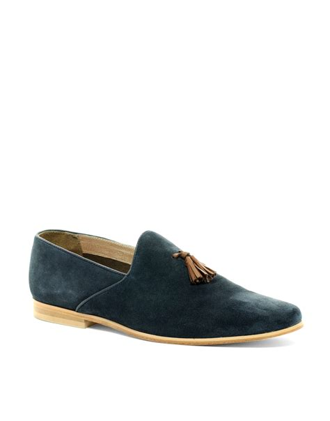 loafers with tassel asos asos suede tassel loafers with leather sole in blue