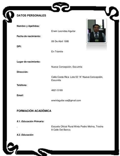 Modelo Curriculum Guatemala Curriculum Vitae
