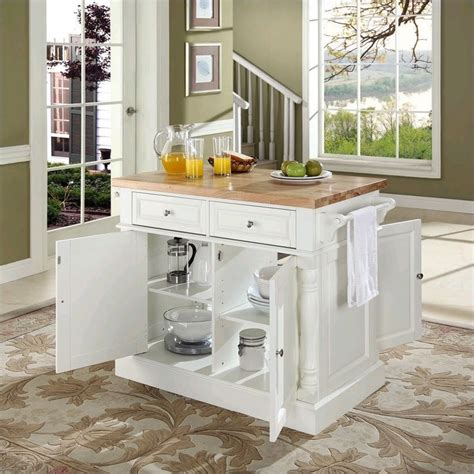 white kitchen island with top crosley oxford kitchen island butcher block in white kf30006wh