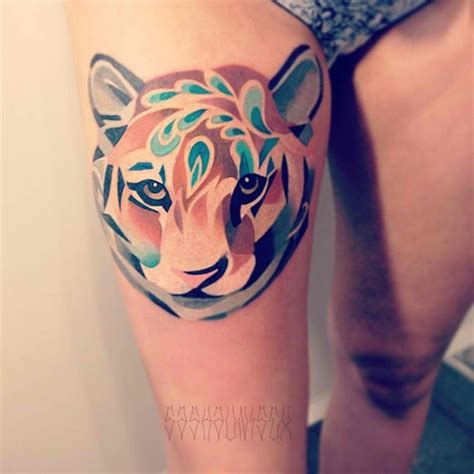 unique thigh tattoos unique tiger watercolor design on hip