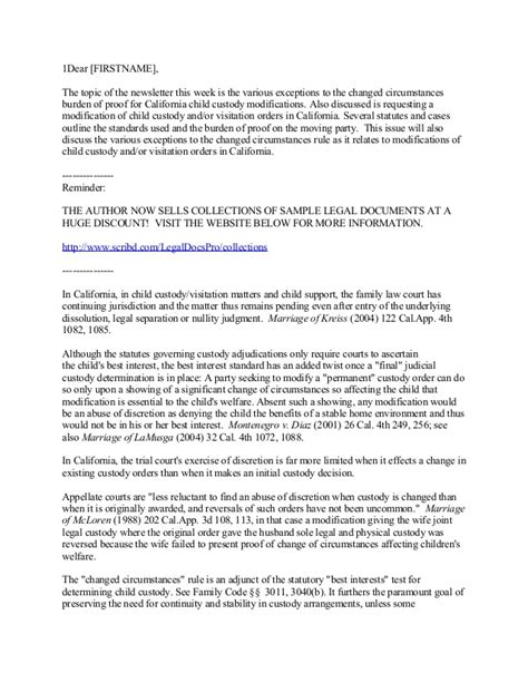 Sle Custody Agreement Letter Between Parents California Child Custody And Visitation Modifications