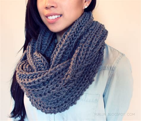 purllin textured november infinity scarf free pattern