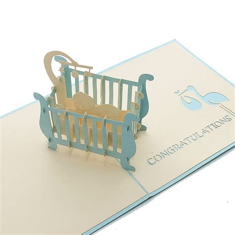 3d baby card templates baby in cot pop up card new baby pop card 3d laser cut