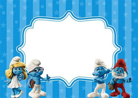 smurfs invitation cards free custom invitation template