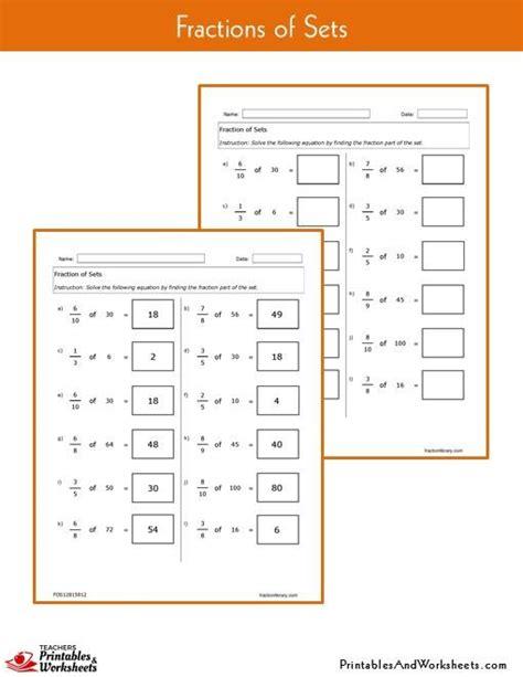 Fraction Worksheet With Answer Key by Fraction Of Sets Worksheets Printables Worksheets