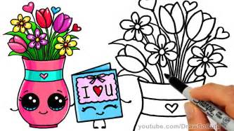 how to draw a vase with flowers and cute card step by step sweet gift youtube