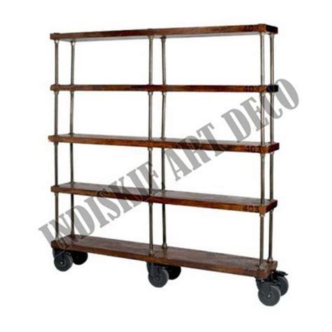 scaffali con ruote industriale scaffale con ruote di legno vintage libreria