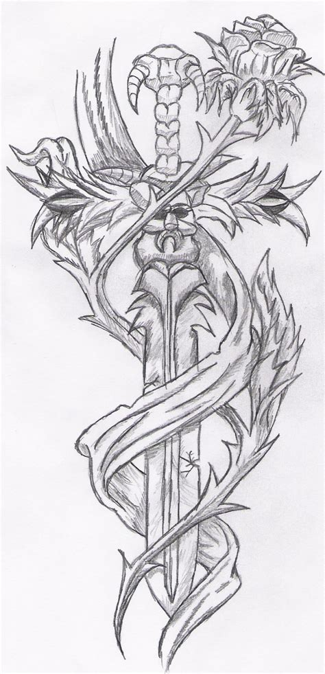 tattoo rose sword by reeachan on deviantart