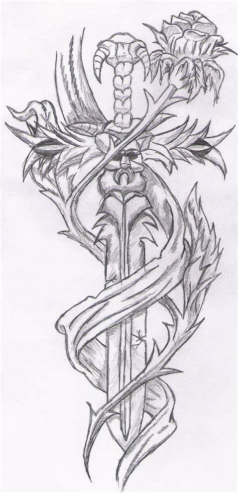 tattoo rose sword by reeachan on deviantart