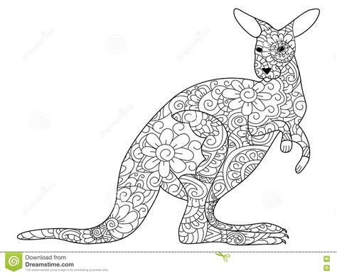 anti stress colouring book australia zentangle stylized kangaroo vector illustration