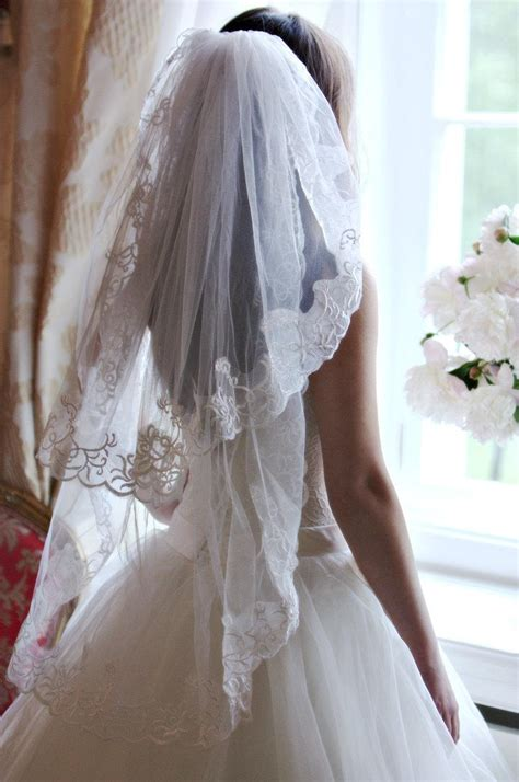 Wedding Hair Fingertip Veil by Lace Veil Two Tier Veil Fingertip Veil Bridal