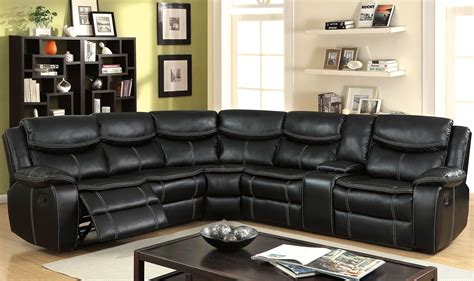 sectional sofa with consoles by franklin gatria ii black reclining sectional with console from