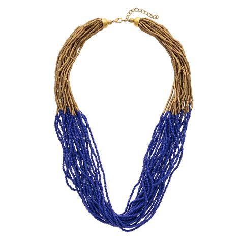 3 strand beaded necklace blue kaya beaded multi strand necklace oliver bonas
